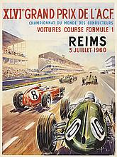 SIGNATURE ILLEGIBLE. XLVI GRAND PRIX DE L'A.C.F. 1960. 25x18 inches, 63x47 cm. Debar, Paris.