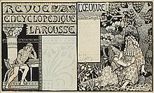 PAUL BERTHON (1872-1909). REVUE ENCYCLOPEDIQUE LAROUSSE. 1898. 12x19 inches, 31x49 cm.