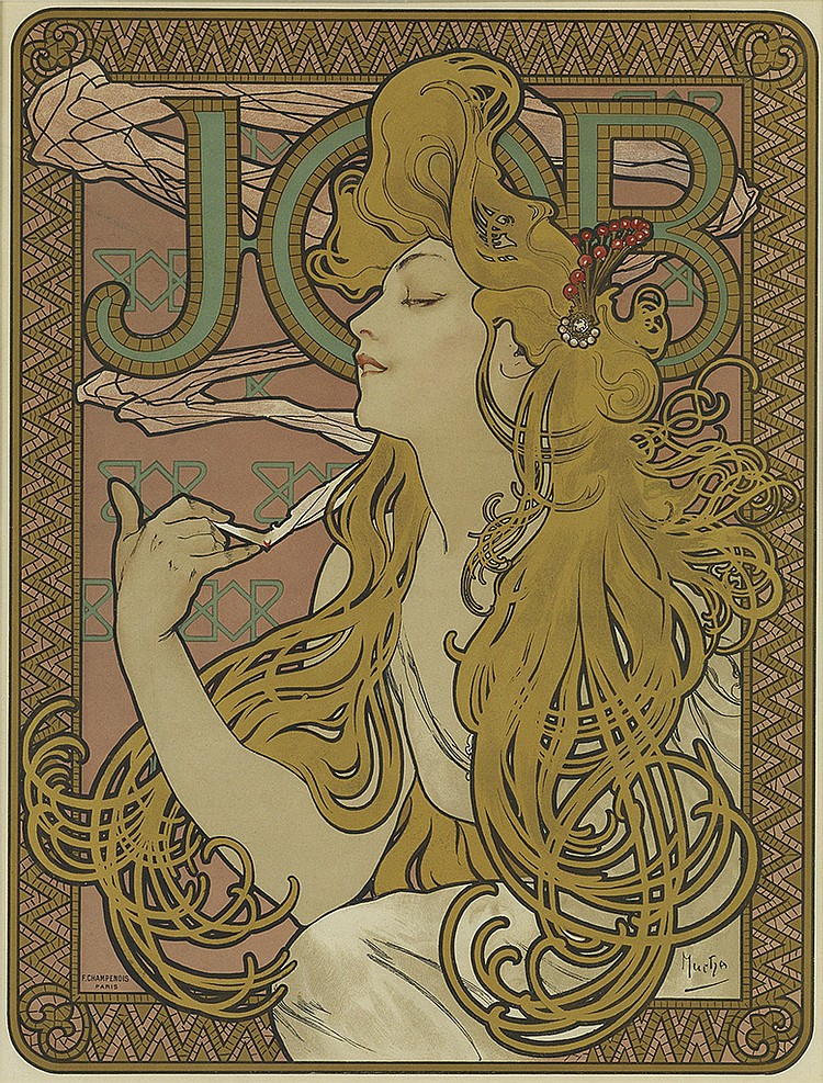 ALPHONSE MUCHA (1860-1939). JOB. 1896. 20x15 inches, 52x40 cm. F. Champenois, Paris.