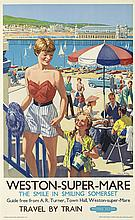 HARRY RILEY (1895-?). WESTON - SUPER - MARE. Circa 1960. 40x24 inches, 101x63 cm. Waterlow & Sons, Limited, London.