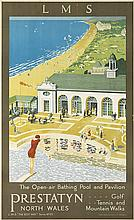 DESIGNER UNKNOWN. LMS / PRESTATYN NORTH WALES. Circa 1930. 39x24 inches, 99x61 cm. Vincent Brooks Day & Son, Ltd. Lith., London.