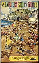 HARRY RILEY (1895-1966). ABERYSTWYTH. 1961. 39x24 inches, 100x62 cm. Fleming & Humphreys Ltd., Leicester.