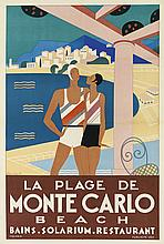 MICHEL BOUCHAUD (DATES UNKNOWN). LA PLAGE DE MONTE CARLO. 1929. 46x30 inches, 116x71 cm. Publicite Vox, Paris.