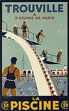 A. MOLUSSON (DATES UNKNOWN). TROUVILLE / LA PISCINE. Circa 1937. 39x24 inches, 99x61 cm. C.H. Maillard, Paris.