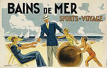 M. NORSAC (DATES UNKNOWN). BAINS DE MER / SPORTS - VOYAGE. 25x39 inches, 64x100 cm. A. Norgeu, Paris.
