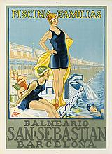 DESIGNER UNKNOWN. SAN SEBASTIAN / PISCINA - FAMILIAS. Circa 1928. 27x19 inches, 58x48 cm. Thomas, Barcelona.