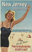 DESIGNER UNKNOWN. NEW JERSEY SEASHORE / PENNSYLVANIA RAILROAD. 41x25 inches, 104x63 cm.