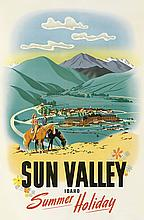 WILLIAM WILLMARTH (DATES UNKNOWN). SUN VALLEY IDAHO / SUMMER HOLIDAY. 1939. 38x25 inches, 96x63 cm. R.M. Rigby Ptg. Co., Kansas City.