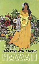 STANLEY WALTER GALLI (1912-?). HAWAII / UNITED AIR LINES. Circa 1960. 40x24 inches, 101x63 cm.