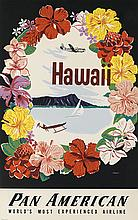 A. AMSPOKER (DATES UNKNOWN). HAWAII / PAN AMERICAN. Circa 1950s. 34x22 inches, 88x56 cm.