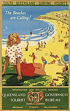 M. ANDERSON (DATES UNKNOWN). SOUTH QUEENSLAND SURFING RESORTS. Circa 1939. 39x24 inches, 99x63 cm. David Whyte, Brisbane.