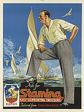 WALTER JARDINE (1884-1970). ASK FOR STAMINA / SELF - SUPPORTING TROUSERS. Circa 1950s. 40x30 inches, 101x76 cm. William Brooks & Co., L