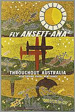 DESIGNER UNKNOWN. FLY ANSETT - ANA / THROUGHOUT AUSTRALIA. Circa 1960. 35x24 inches, 90x61 cm.