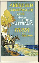 SQUIRE (DATES UNKNOWN). ABERDEEN & COMMONWEALTH LINE / FASTEST LINE TO AUSTRALIA. Circa 1935. 39x24 inches, 101x63 cm. Howard & Jones L