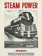 DESIGNER UNKNOWN. STEAM POWER / THE NEW HAVEN R.R. 24x18 inches, 63x47 cm.