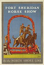NORMAN ERICKSON (DATES UNKNOWN). FORT SHERIDAN HORSE SHOW / BY THE NORTH SHORE LINE. 1926. 41x28 inches, 106x71 cm. Illinois Litho. Co.