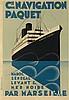 MAX PONTY (1904-1972). CIE DE NAVIGATION PAQUET. 1924. 41x28 inches, 104x72 cm. Hachard & Cie., Paris.