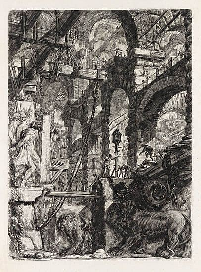 GIOVANNI B. PIRANESI Perspective of Roman Arches with two Lions.