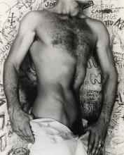 LYNES, GEORGE PLATT (1907-1955) Nude with graffiti wall.