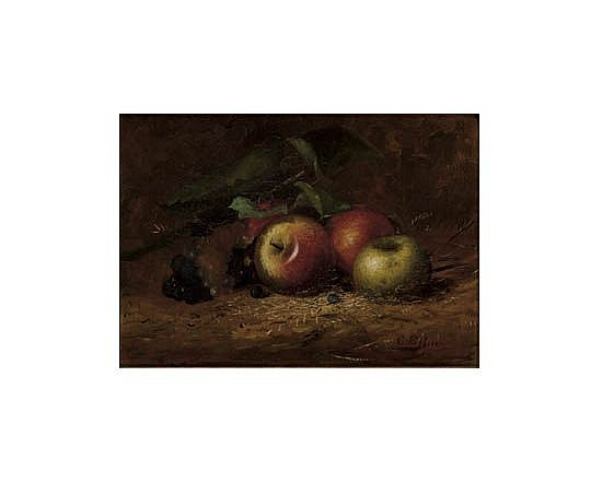 CHARLES ETHAN PORTER (1847 - 1923) Three Apples (Still Life of Apples, Grapes and Blueberries).