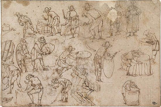 ITALIAN SCHOOL, 16TH-CENTURY Studies of Coopers Making Barrels.