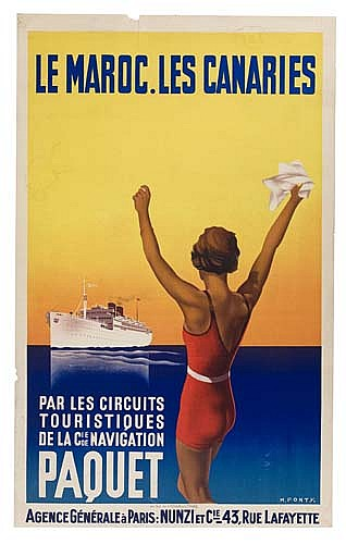 POSTER: MAX PONTY (1904-1972) LE MAROC. LES CANARIES / CIE DE NAVIGATION PAQUET. Circa 1935. 39x24 inches. Hachard & Co., Paris.