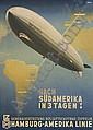 POSTER: OTTOMAR ANTON (1895-1976) NACH SUDAMERIKA IN 3 TAGEN! 45x32 inches. [Muhlmeister & Johler, Hamburg.], Ottomar Anton, Click for value