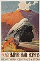 POSTER: LESLIE RAGAN (1897-1972) THE NEW EMPIRE STATE EXPRESS / NEW YORK CENTRAL SYSTEM. 1941. 40x26 inches. Brett Lithographing Company., Leslie Darrell Ragan, Click for value