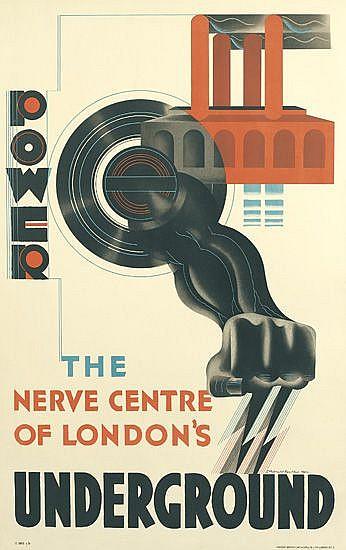 EDWARD MCKNIGHT KAUFFER (1890-1954). POWER / THE NERVE CENTRE OF LONDON'S UNDERGROUND. 1931. 40x25 inches, 101x63 cm. Vincent Brooks,