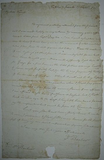 (AMERICAN REVOLUTION.) BARBER, FRANCIS. Autograph Letter Signed,