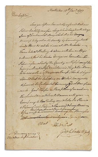 (AMERICAN REVOLUTION.) CLINTON, GEORGE. Autograph Letter Signed,
