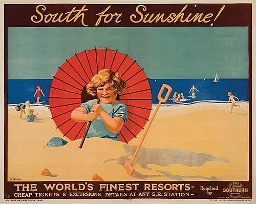 Poster. VERNEY L. DANVERS SOUTH FOR SUNSHINE / SOUTHERN RAILWAY. 1926. 40x49 inches. (102 x 127 cm.) Waterlow  &  Sons, London.