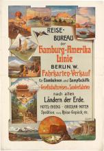 BRUNO AUGUST HERMANN LEOPOLD RICHTER (1872-?). REISEBUREAU DER HAMBURG - AMERIKA LINIE. Circa 1900. 37x25 inches, 94x64 cm. Georg Buxen