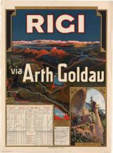 DESIGNER UNKNOWN. RIGI / VIA ARTH - GOLDAU. 1902. 30x23 inches, 78x58 cm. Polygraphisches Institut, Zurich.