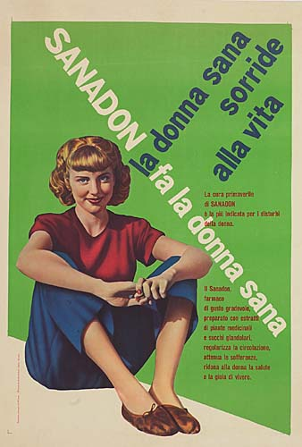 MAX HUBER (1919- ) REMO MUNATORI (1912- ) SANADON FA LA DONNA SANA. 27x19 inches. Offiche Graphice Antonio Saita, Milan.