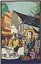 V . VEEVERS (DATES UNKNOWN). SEE INDIA / STREET SCENE LAHORE. Circa 1935. 39x25 inches, 99x63 cm. G. Claridge & Co. Ltd., Bombay.