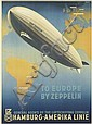 OTTOMAR ANTON (1895-1976). TO EUROPE BY ZEPPELIN. 1936. 32x23 inches, 81x59 cm. [Muhlmeister & Johler, Hamburg.]