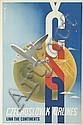 WOLFGANG ALEXANDER SCHLOSSER (1913-1984). CZECHOSLOVAK AIRLINES / LINK THE CONTINENTS. Circa 1946. 37x24 inches, 96x63 cm. Svoboda, Pra