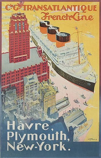 ALBERT SEBILLE (1874-1953). FRENCH LINE / HAVRE, PLYMOUTH, NEW YORK. 1922. 39x24 inches, 100x63 cm. Crete, Paris.