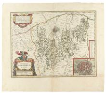 BLAEU, WILLEM. Group of six engraved double-page maps and one single-page map by the Dutch master,