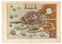 BRAUN, GEORG; and HOGENBERG, FRANZ. Flissinga Munitissima Zelandiae Oppidum, tutissimum Nautarum et Nauclerorum domicilium.