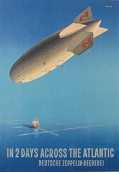 OTTOMAR ANTON (1895-1976). IN 2 DAYS ACROSS THE ATLANTIC. Circa 1936. 32x23 inches, 84x58 cm. Muhlmeister & Johler, Hamburg.