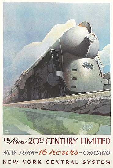 LESLIE RAGAN (1897-1972). THE NEW 20TH CENTURY LIMITED. 1938. 40x26 inches, 101x67 cm. Latham Litho Co., Long Island City, N.Y.