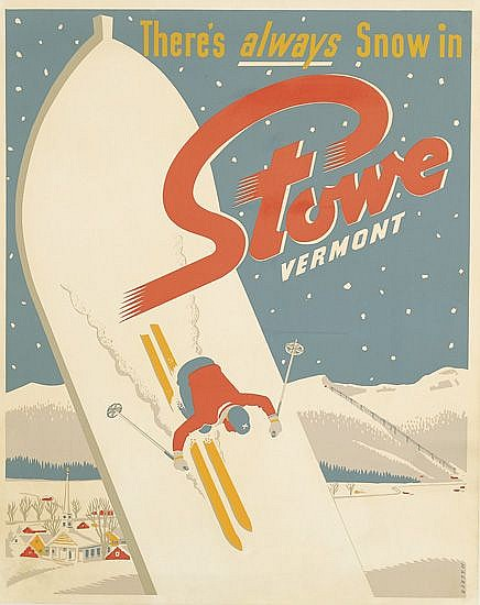 SASCHA MAURER (1897-1961). THERE'S ALWAYS SNOW IN STOWE VERMONT. Circa 1950. 28x23 inches, 73x58 cm.