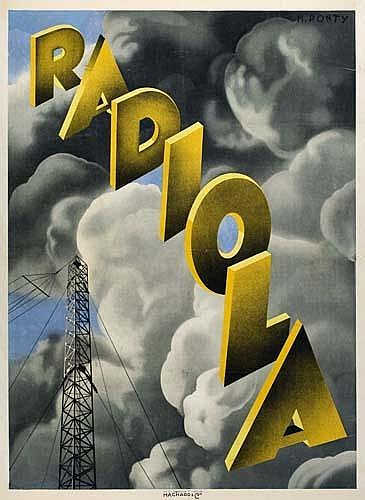 POSTER: MAX PONTY (1904-1972) RADIOLA. 1928. 61x45 inches. Hachard  &  Cie.