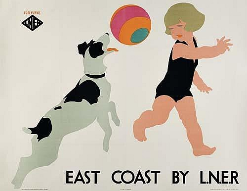POSTER: TOM PURVIS ( 1888-1959) EAST COAST BY L.N.E.R. Circa 1927. 39x50 inches. S. C. Allen  &  Company, Ltd., London.