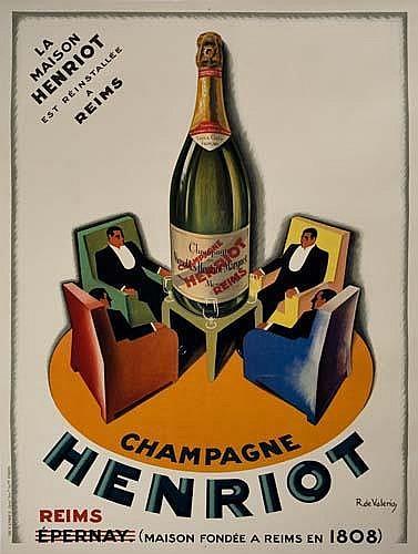 POSTER: ROGER DE VALERIO (1896-1951) CHAMPAGNE HENRIOT. 61x45 inches. Devambez, Paris.