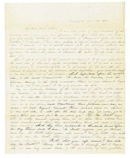 (SLAVERY AND ABOLITION--AMISTAD CAPTIVES.) Group of ninety-one letters written by Charlotte Cowles to her bother Samuel, with three let