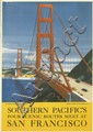 DESIGNER UNKNOWN. SOUTHERN PACIFIC'S FOUR SCENIC ROUTES MEET AT / SAN FRANCISCO. Circa 1940. 23x16 inches, 58x40 cm.
