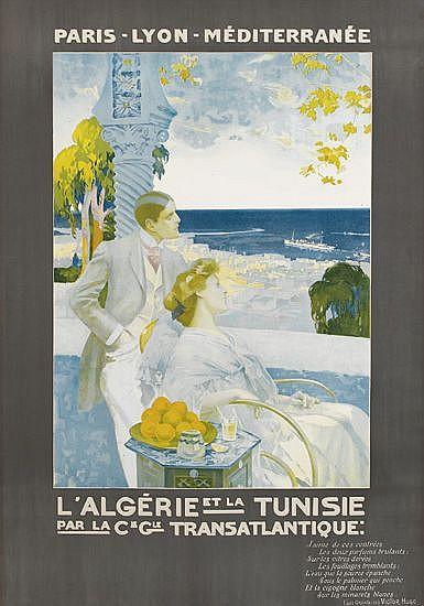 DESIGNER UNKNOWN. L'ALGÉRIE ET LA TUNISIE / PAR LA CIE. GLE. TRANSATLANTIQUE. Circa 1900. 41x28 inches, 105x72 cm.